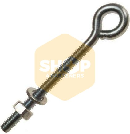 Folded Eye Bolts with Nut and Washer - Zinc Plated BZP