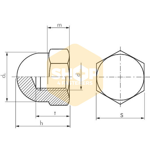 Dome Nuts Stainless Steel A2 - M18