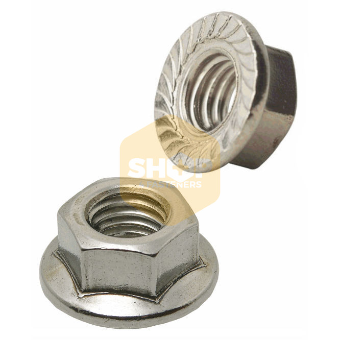 Pack 5 10 A2 M10 10mm Stainless Steel Serrated Flange Nuts