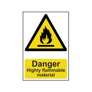 Scan Safety Sign - Danger Highly Flammable Material