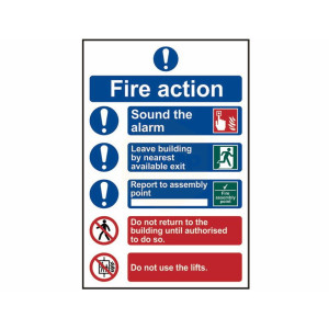 Scan Safety Sign - Fire Action Procedure with Assembly Point