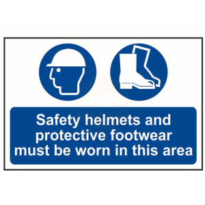 Scan Safety Sign - Safety Helmets And Protective Footwear Must Be Worn