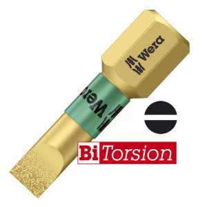 Wera Diamond Coated BiTorsion Slotted Screwdriver Bits